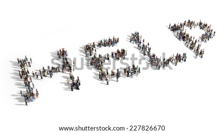 Large group of people need for help, thinking concept. - stock photo