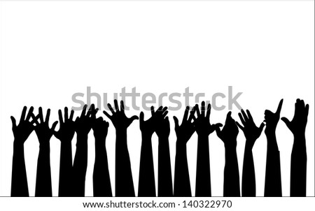 Large group of people raising hands isolated on white,  vector  - stock photo