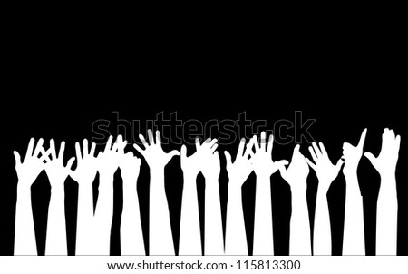 Large group of people raising hands vector - stock photo