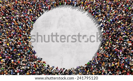 Large group of people seen from above, gathered in the shape of a circle, standing on a concrete background - stock photo