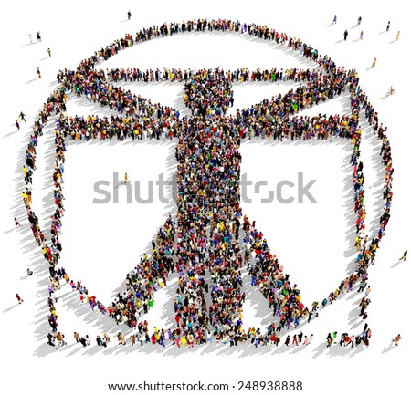 Large group of people seen from above gathered in the shape of the Vitruvian man - stock photo