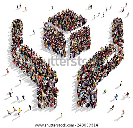 Large group of people seen from above gathered in the shape of two hands holding an abstract object - stock photo