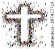 Large group of people seen from above gathered together around the shape of a cross, on white background - stock vector