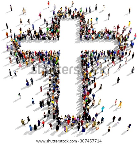 Large group of people seen from above gathered together around the shape of a cross, on white background - stock photo