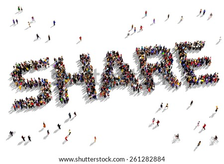 """Large group of people seen from above gathered together in the form of """"SHARE"""" text - stock photo"""