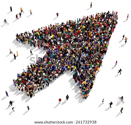 Large group of people seen from above gathered together in the shape of a arrow cursor - stock photo