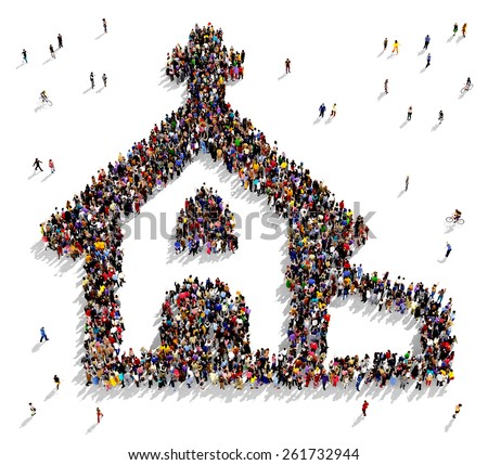 Large group of people seen from above gathered together in the shape of a church - stock photo