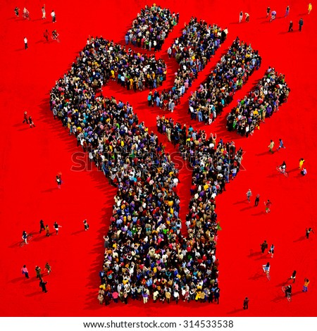 Large group of people seen from above gathered together in the shape of a fist symbol standing on a red background - stock photo