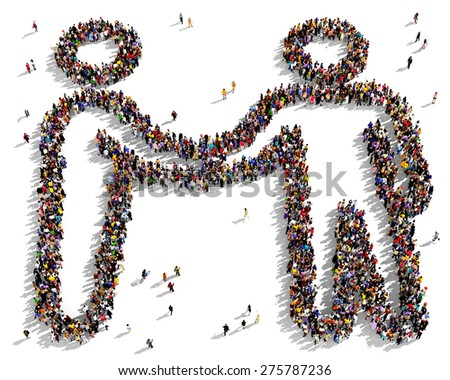 large group people seen above gathered stock illustration