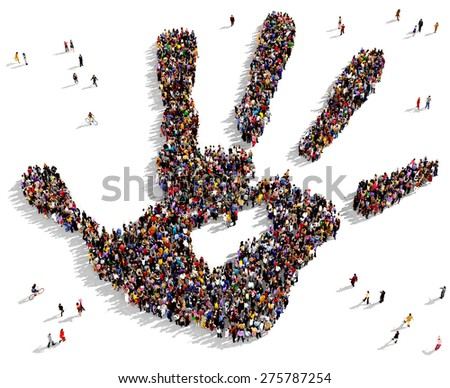 Large group of people seen from above gathered together in the shape of a hand print - stock photo
