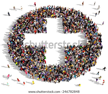 Large group of people seen from above gathered together in the shape of a plus sign - stock photo