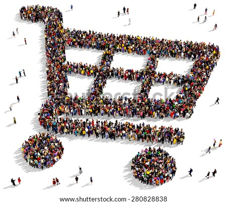 Large group of people seen from above gathered together in the shape of a shopping cart - stock photo