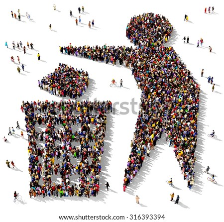 Large group of people seen from above gathered together in the shape of a symbol of a man next to a trash can - stock photo