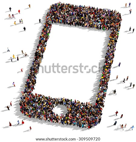 Large group of people seen from above gathered together in the shape of a tilted smartphone - stock photo