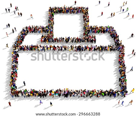 Large group of people seen from above gathered together in the shape of a voting box - stock photo