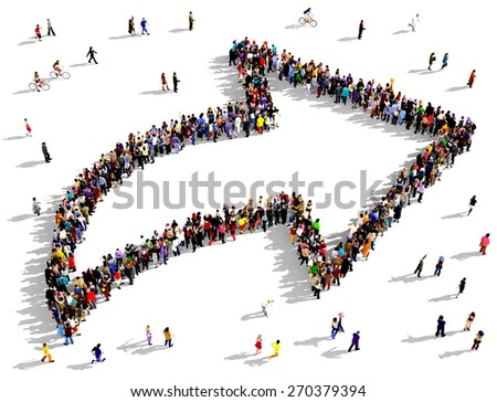 Large group of people seen from above gathered together in the shape of an curved outlined arrow pointing slightly up and to the right. People around the shape looking towards the arrow's direction. - stock photo