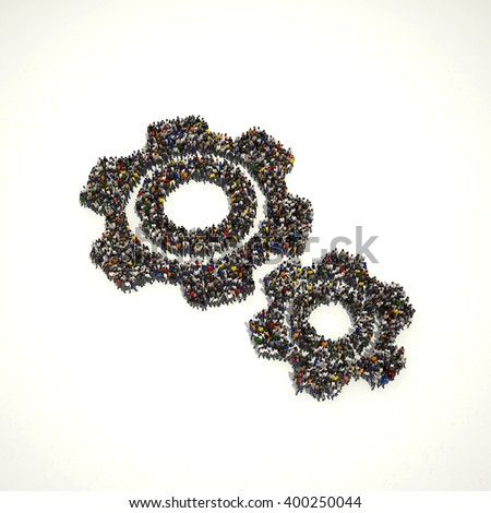Large group of people seen from above gathered together in the shape of an gear - stock photo