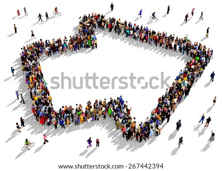 Large group of people seen from above gathered together in the shape of an outlined arrow pointing to the right, slightly tilted upwards. People around the shape looking towards the arrow's direction. - stock photo