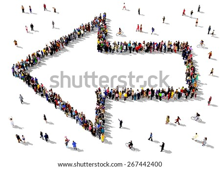 Large group of people seen from above gathered together in the shape of an outlined arrow pointing to the left. People around the shape looking towards the arrow's direction. - stock photo