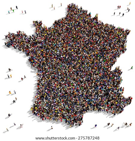 Large group of people seen from above gathered together in the shape of France - stock photo