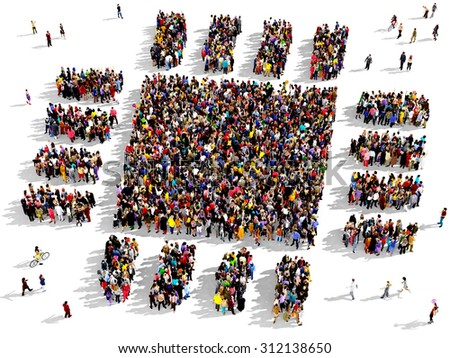 Large group of people seen from above gathered together in the shape of microchip  - stock photo