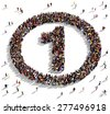 Large group of people seen from above gathered together in the shape of number one in a circle - stock vector