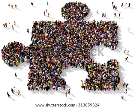 Large group of people seen from above gathered together in the shape of piece of puzzle standing on a white background - stock photo