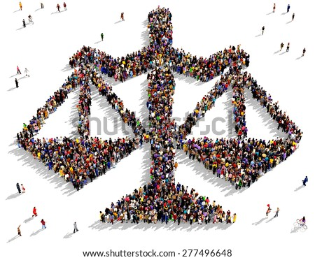 Large group of people seen from above gathered together in the shape of scales of justice icon - stock photo