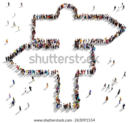 Large group of people seen from above gathered together in the shape of signpost - stock photo