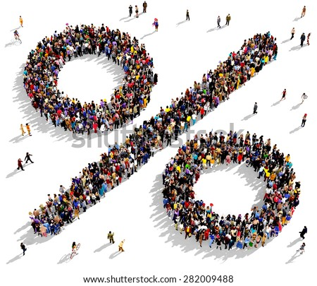 Large group of people seen from above gathered together in the shape of the percent sign - stock photo