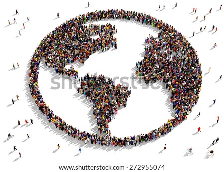 Large group of people seen from above gathered together in the shape of the world map - stock photo