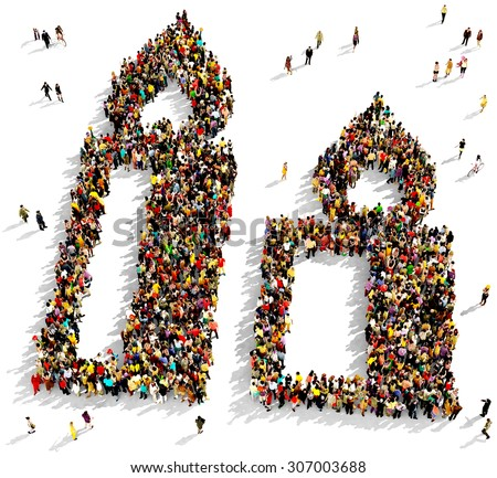 Large group of people seen from above gathered together in the shape of two candles, on white background - stock photo