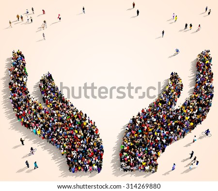Large group of people seen from above gathered together in the shape of two protective hands - stock photo