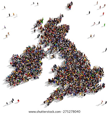 Large group of people seen from above gathered together in the shape of United Kingdom map - stock photo