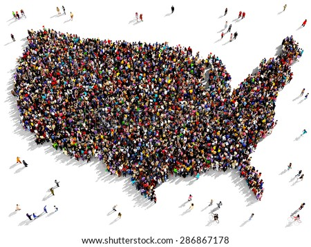 Large group of people seen from above gathered together in the shape of United States of America map - stock photo