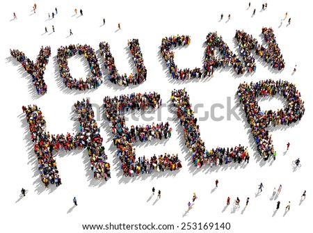 "Large group of people seen from above gathered together to form out the text ""You can Help"" - stock photo"