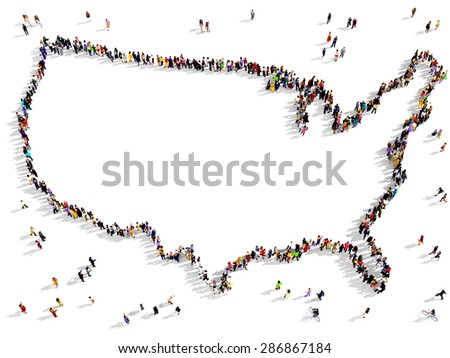 Large Group Of People Seen From Above Gathered Together To Shape The Border Of United States