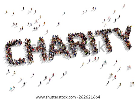 """Large group of people seen from above gathered together to shape the text """"CHARITY"""" - stock photo"""