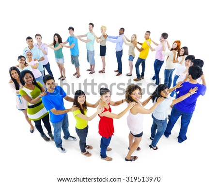 Large Group of People Standing Circle Teamwork Concept - stock photo
