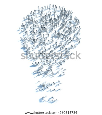 Large group of people with Ideas and a few moving to the light - stock photo
