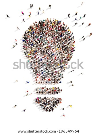 Large group of people with Ideas and a few moving to the light.Leading the pack, ingenuity,taking the initiative,standing out from the crowd concept.  - stock photo
