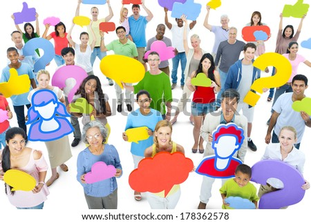 Large Group of People with Social Networking Symbols - stock photo