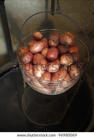 Large group of potatoes in a basket