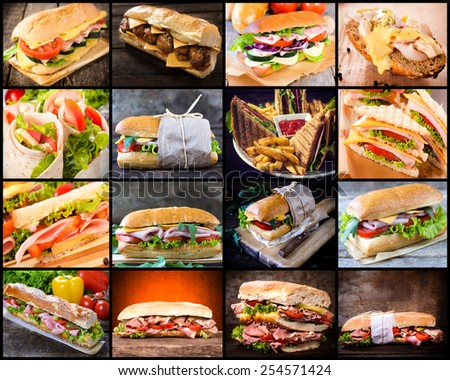 Large group of sandwiches in collage  - stock photo