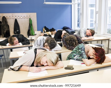 Large Group of Sleeping students