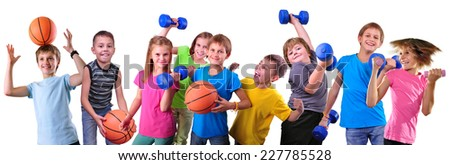 Large group of sportive children with dumbbells and ball isolated over white . Childhood, happiness, active sports lifestyle concept - stock photo