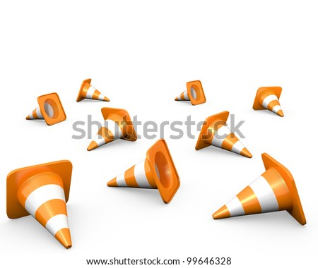 Large group of traffic cones, isolated on white - stock photo