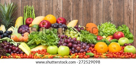 Large group of tropical fruits and vegetables organics - stock photo