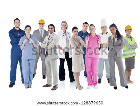 Large group of workers of different industries on white background - stock photo