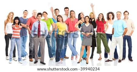 Large group of young smiling people. Over white background